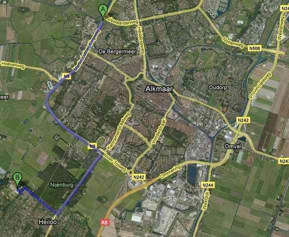 Route vanaf Langedijk, Schagen, Den Helder