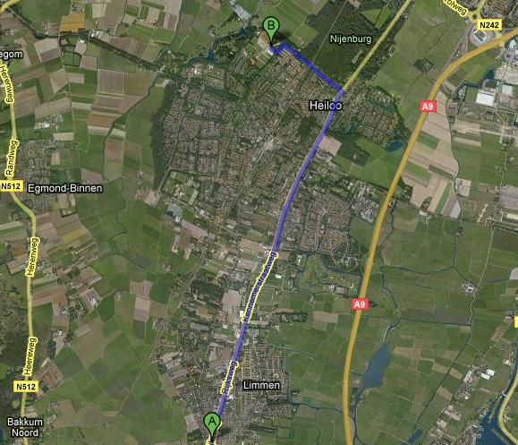 Route vanaf Castricum, Uitgeest